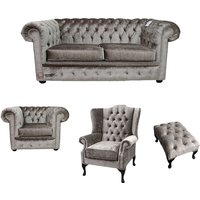 Chesterfield 2 Seater Sofa + Club Chair + Mallory Wing Chair + Footstool Boutique Beige Velvet Sofa Suite Offer