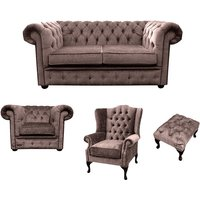 Designer Sofas 4 U - Chesterfield 2 Seater Sofa + Club Chair + Mallory Wing Chair+Footstool Harmony Charcoal Velvet Sofa Suite Offer