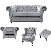 Chesterfield 2 Seater Sofa + Club Chair + Mallory Wing Chair+Footstool Harmony Dusk Velvet Sofa Suite Offer