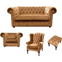 Designer Sofas 4 U - Chesterfield 2 Seater Sofa + Club Chair + Mallory Wing Chair+Footstool Harmony Gold Velvet Sofa Suite Offer
