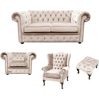 Designer Sofas 4 U - Chesterfield 2 Seater Sofa + Club Chair + Mallory Wing Chair+Footstool Harmony Ivory Velvet Sofa Suite Offer