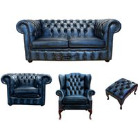 Designer Sofas 4 U - Chesterfield 2 Seater Sofa + Club Chair + Mallory Wing Chair + Footstool Leather Sofa Suite Offer Antique blue