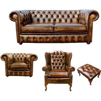 Designer Sofas 4 U - Chesterfield 2 Seater Sofa + Club Chair + Mallory Wing Chair + Footstool Leather Sofa Suite Offer Antique Gold