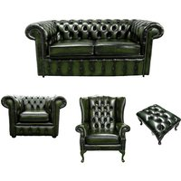 Chesterfield 2 Seater Sofa + Club Chair + Mallory Wing Chair + Footstool Leather Sofa Suite Offer Antique Green