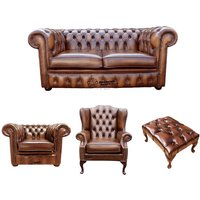 Chesterfield 2 Seater Sofa + Club Chair + Mallory Wing Chair + Footstool Leather Sofa Suite Offer Antique Tan