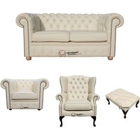 Chesterfield 2 Seater Sofa + Club Chair + Mallory Wing Chair + Footstool Leather Sofa Suite Offer Cottonseed Cream - DESIGNER SOFAS 4 U