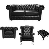 Designer Sofas 4 U - Chesterfield 2 Seater Sofa + Club Chair + Mallory Wing Chair + Footstool Old English Black Leather Sofa Offer