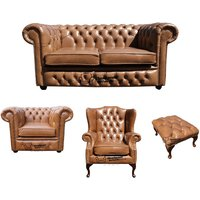 Designer Sofas 4 U - Chesterfield 2 Seater Sofa + Club Chair + Mallory Wing Chair + Footstool Old English Tan Leather Sofa Offer