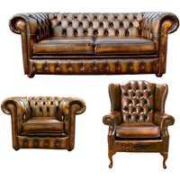 Chesterfield 2 Seater Sofa + Club Chair + Mallory Wing Chair Leather Sofa Suite Offer Antique Gold