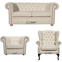 Chesterfield 2 Seater Sofa + Club Chair + Mallory Wing Chair Leather Sofa Suite Offer Cottonseed Cream