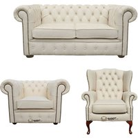 Chesterfield 2 Seater Sofa + Club Chair + Mallory Wing Chair Leather Sofa Suite Offer Ivory