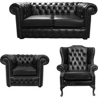 Chesterfield 2 Seater Sofa + Club Chair + Mallory Wing Chair Old English Black Leather Sofa Offer - DESIGNER SOFAS 4 U