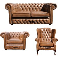 Designer Sofas 4 U - Chesterfield 2 Seater Sofa + Club Chair + Mallory Wing Chair Old English Tan Leather Sofa Offer