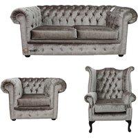 Designer Sofas 4 U - Chesterfield 2 Seater Sofa + Club Chair + Queen Anne Chair Boutique Beige Velvet Sofa Suite Offer
