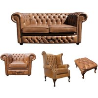 Designer Sofas 4 U - Chesterfield 2 Seater Sofa + Club Chair + Queen Anne Chair + Footstool Old English Tan Leather Sofa Offer