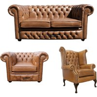Designer Sofas 4 U - Chesterfield 2 Seater Sofa + Club Chair + Queen Anne Chair Old English Tan Leather Sofa Offer