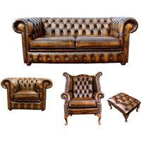 Designer Sofas 4 U - Chesterfield 2 Seater Sofa + Club Chair + Queen Anne Wing Chair + Footstool Leather Sofa Suite Offer Antique Gold