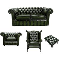 Chesterfield 2 Seater Sofa + Club Chair + Queen Anne Wing Chair + Footstool Leather Sofa Suite Offer Antique Green