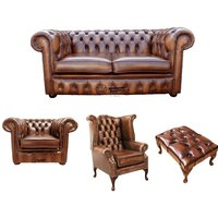 Chesterfield 2 Seater Sofa + Club Chair + Queen Anne Wing Chair + Footstool Leather Sofa Suite Offer Antique Tan