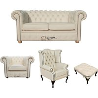 Chesterfield 2 Seater Sofa + Club Chair + Queen Anne Wing Chair + Footstool Leather Sofa Suite Offer Cottonseed Cream - DESIGNER SOFAS 4 U