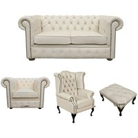 Designer Sofas 4 U - Chesterfield 2 Seater Sofa + Club Chair + Queen Anne Wing Chair + Footstool Leather Sofa Suite Offer Ivory
