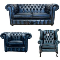 Chesterfield 2 Seater Sofa + Club Chair + Queen Anne Wing Chair Leather Sofa Suite Offer Antique blue