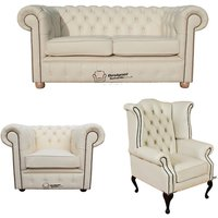 Chesterfield 2 Seater Sofa + Club Chair + Queen Anne Wing Chair Leather Sofa Suite Offer Cottonseed Cream