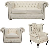 Chesterfield 2 Seater Sofa + Club Chair + Queen Anne Wing Chair Leather Sofa Suite Offer Ivory
