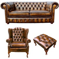 Chesterfield 2 Seater Sofa + Mallory Wing Chair + Footstool Leather Sofa Suite Offer Antique Gold