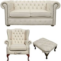 Chesterfield 2 Seater Sofa + Mallory Wing Chair + Footstool Leather Sofa Suite Offer Ivory