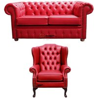 Chesterfield 2 Seater Sofa + Mallory Wing Chair Old English Gamay Red Leather Sofa Offer
