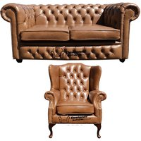 Designer Sofas 4 U - Chesterfield 2 Seater Sofa + Mallory Wing Chair Old English Tan Leather Sofa Offer