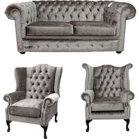 Chesterfield 2 Seater Sofa + Mallory Wing Chair + Queen Anne Chair Boutique Beige Velvet Sofa Suite Offer