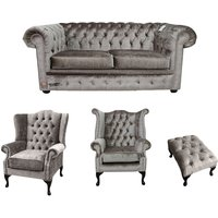 Designer Sofas 4 U - Chesterfield 2 Seater Sofa + Mallory Wing Chair + Queen Anne Chair + Footstool Boutique Beige Velvet Sofa Suite Offer
