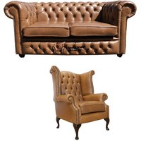 Chesterfield 2 Seater Sofa + Queen Anne Chair Old English Tan Leather Sofa Offer - DESIGNER SOFAS 4 U