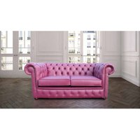 Chesterfield 2 Seater Sofa Settee Aubergine Leather Sofa Offer - DESIGNER SOFAS 4 U