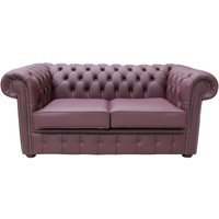 Designer Sofas 4 U - Chesterfield 2 Seater Sofa Settee Shelly Burgandy Leather