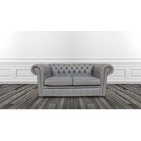 Chesterfield 2 Seater Sofa Settee Vele Iron Grey Leather Sofa Offer - DESIGNER SOFAS 4 U