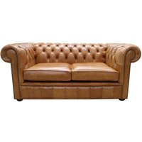 Chesterfield 2 Seater Sofa Tan Old English Aniline Leather - DESIGNER SOFAS 4 U
