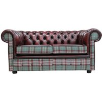 Chesterfield 2 Seater Threshfield Jade Check Wool and Antique Oxblood Leather Sofa Offer - DESIGNER SOFAS 4 U