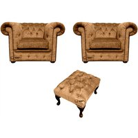 Chesterfield 2 x Club chairs + Footstool Harmony Gold Velvet Sofa Suite Offer
