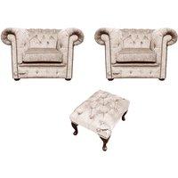 Designer Sofas 4 U - Chesterfield 2 x Club chairs + Footstool Harmony Ivory Velvet Sofa Suite Offer