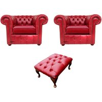 Chesterfield 2 x Club Chairs + Footstool Old English Gamay Red Leather Sofa Offer