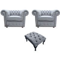 Designer Sofas 4 U - Chesterfield 2 x Club chairs + Footstool Verity Plain Steel Fabric Sofa Suite Offer