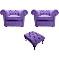 Designer Sofas 4 U - Chesterfield 2 x Club chairs + Footstool Verity Purple Fabric Sofa Suite Offer