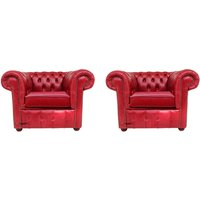 Chesterfield 2 x Club Chairs Old English Gamay Red Leather Sofa Offer