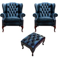 Designer Sofas 4 U - Chesterfield 2 x Mallory Wing Chair + Footstool Leather Sofa Suite Offer Antique Blue