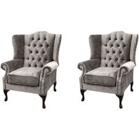 Designer Sofas 4 U - Chesterfield 2 x Mallory Wing Chairs Boutique Beige Velvet Sofa Suite Offer
