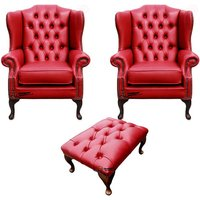 Chesterfield 2 x Mallory Wing Chairs + Footstool Old English Gamay Red Leather Sofa Offer