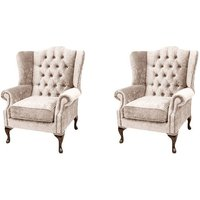 Designer Sofas 4 U - Chesterfield 2 x Mallory Wing Chairs Harmony Ivory Velvet Sofa Suite Offer